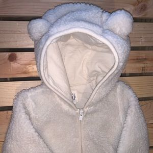 Infant Sherpa body suit with hood